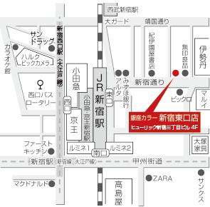 銀座カラー新宿東口店マップ