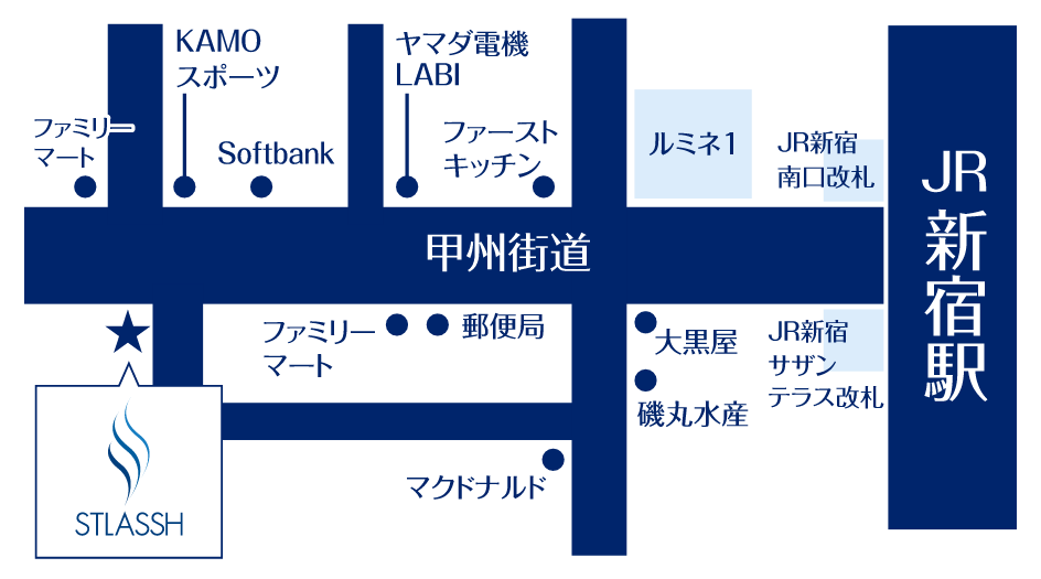 ストラッシュ新宿南口店のマップ